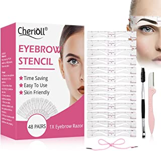 Eyebrow Stencil, Eyebrow Shaper Kit, 12 Styles Extremely Elaborate Reusable Eyebrow Template Stencils for A Range Of Face Shapes, 3 Minutes Makeup Tools For Eyebrows, 48pairs