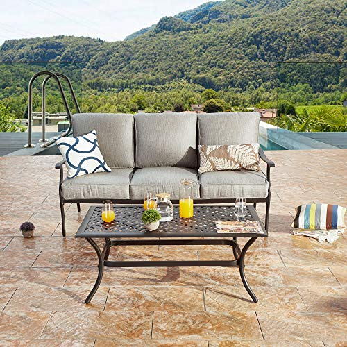 LOKATSE HOME 3 Seat Metal Patio Loveseat Bench Outdoor Furniture Bistro Set with Coffee Table for Lawn Front Porch Garden Yard or Poolside, Grey
