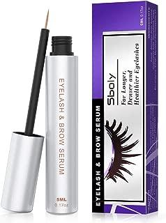 Sboly Eyelash Growth Serum, 100% Natural Eyelash Enhancer Eyebrow Enhancer, Serum for Boost Longer, Thicker Lashes and Eyebrows, Non-irritating (5ml, 0.17oz)