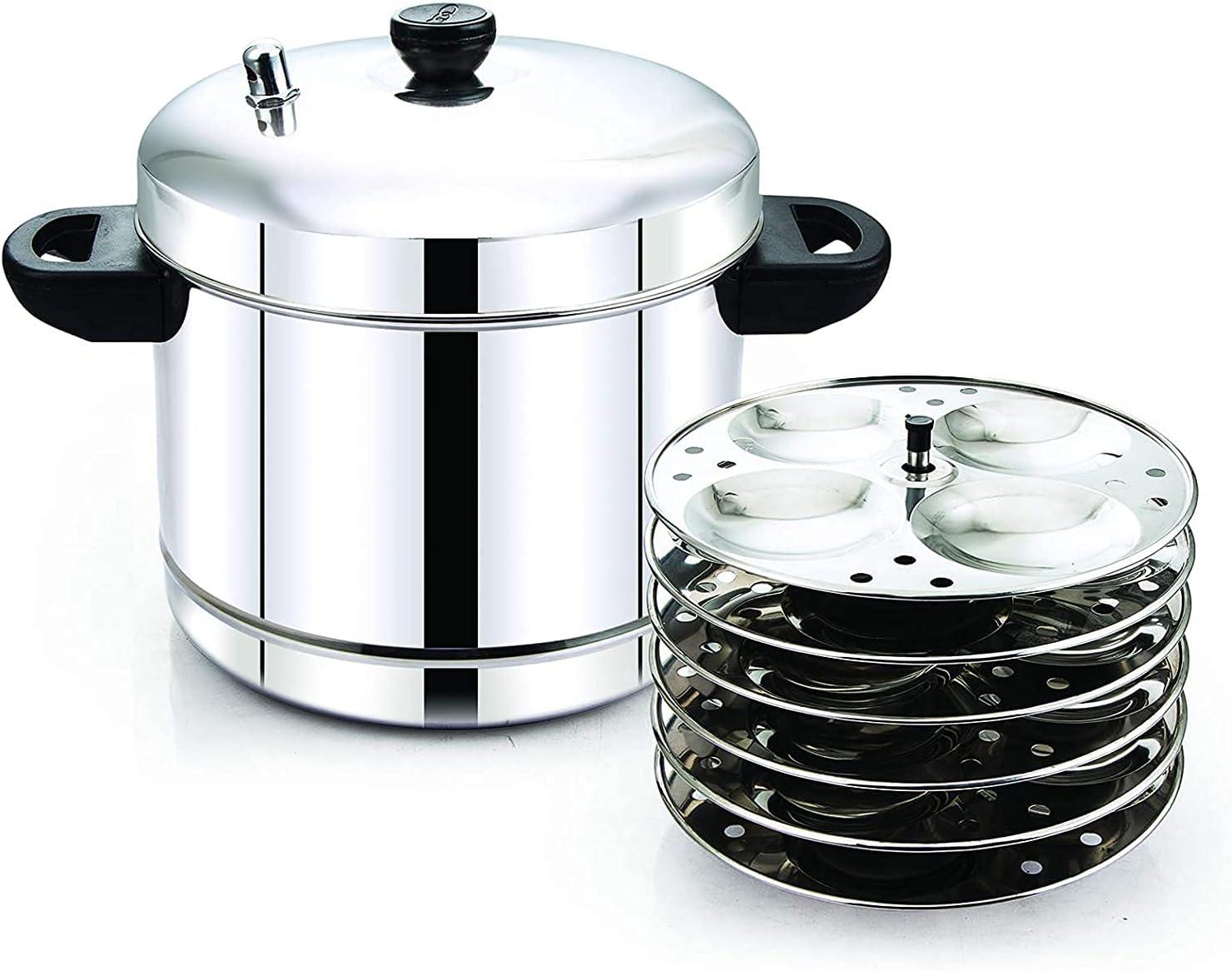 Idli Cooker idli Steamer idli Maker idli Pot with Free Wooden Set of 5 Pieces spatulas Export Quality Stainless Steel 6 Plates (24 idlis)