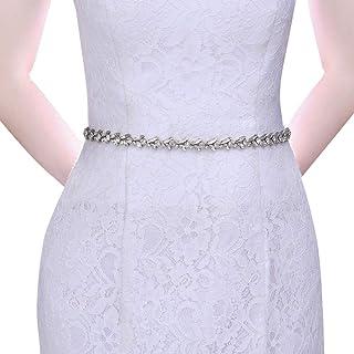 حزام من حجر الراين لحفلات الزفاف من أزاليا يوسيس حزام أبيض رقيق لإشبينة العروس فستان للنساء إكسسوارات الزفاف (S468)