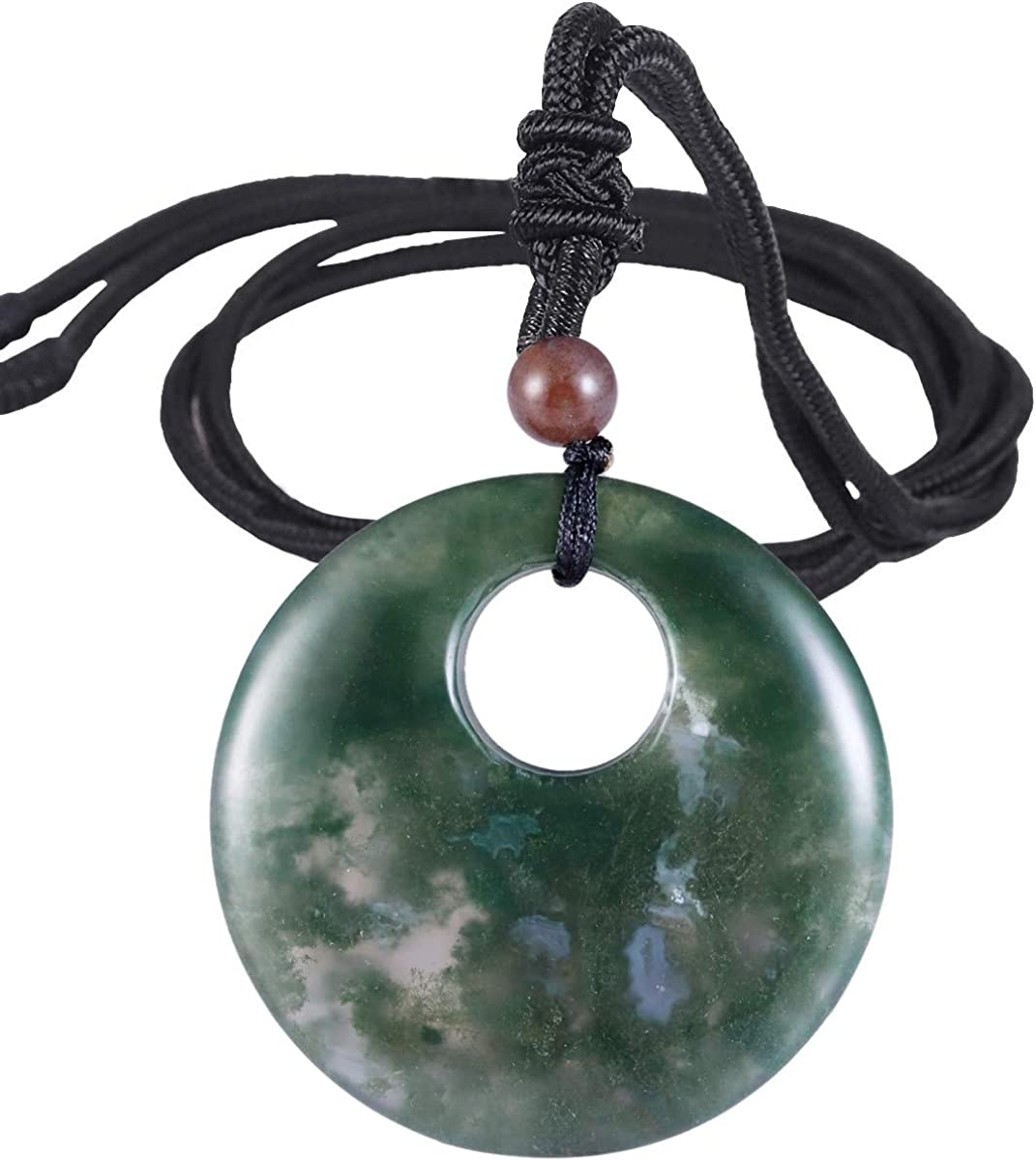 SUNYIK Lucky Coin Pendant Necklace for Women Men, Healing Crystal Amulet Jewelry for Unisex, Donut Round Shaped, Adjustable 18''-28'' Strand
