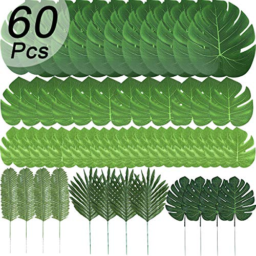 Künstliche Palmenblätter, tropische Pflanze, Safariblätter, künstliche Monstera-Blätter, Stiele für Hawaiianische Luau-Party-Dekorationen, 60 Stück