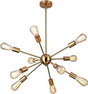 Glighone Sputnik Lustre Pendentif Éclairage 10 Lumières Plafonnier Hauteur Réglable Lustre En Laiton Milieu Du Siècle Lumi...