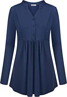 Helloacc Womens Notch V Neck Long Sleeve Henley Shirts Pleated Button Tunic Tops