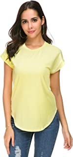 Women Short Sleeve Round Neck Tee T Shirt Basic Cotton Casual Loose Fit Blouse Tops