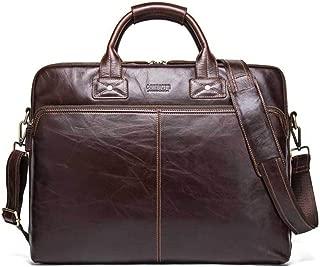 """NYDZDM Mens Leather Satchel Briefcase Genuine Large Satchel Shoulder Bag Vintage Crossbody 17""""Laptop Handbag Brown"""
