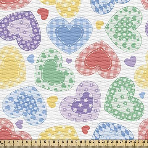 ABAKUHAUS Amor Tela por Metro, Patchwork Estilo Corazones, Decorativa para Tapicería y Textiles del Hogar, 1M (148x100cm), Multicolor