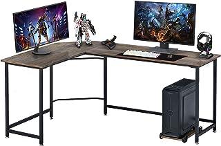 Symylife Hoekbureau bureau voor thuis, L-vormige computertafel, grote pc, laptop, werkstation, speeltafel voor thuis, 168 ...
