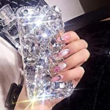 Kompatibel mit Hülle iPhone 8 Plus/7 Plus Hülle,3D Handschlaufe Glänzend Glitzer Bling Diamant Strass Rhinestone Transparent TPU Silikon Bumper Hülle Hard Schutzhülle für iPhone 8 Plus/7 Plus,Klar