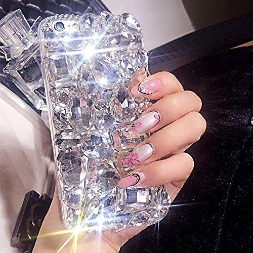 iPhone 8Diamond, iPhone 8Caso, iPhone 7Caso, ikasus 3D Hecha a Mano Bling Rhinestone Diamantes Sparkle Rhinestones Case Full Cristales Bling Diamond Carcasa para iPhone 8/iPhone 7, Transparent