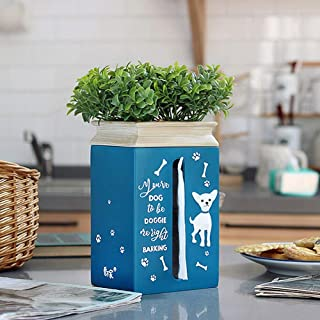 YXZQ Facial Paper Dispenser Tissue Box Cover Holder Square, Creative Puppy Napkin Organizer with Potted Plants, Resin Tiss...