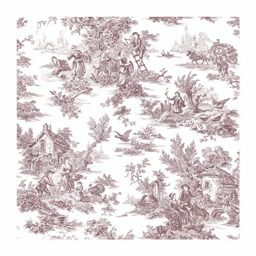 York Wallcoverings AT4228 Ashford Toiles Champagne Toile Prepasted Wallpaper, White/Black