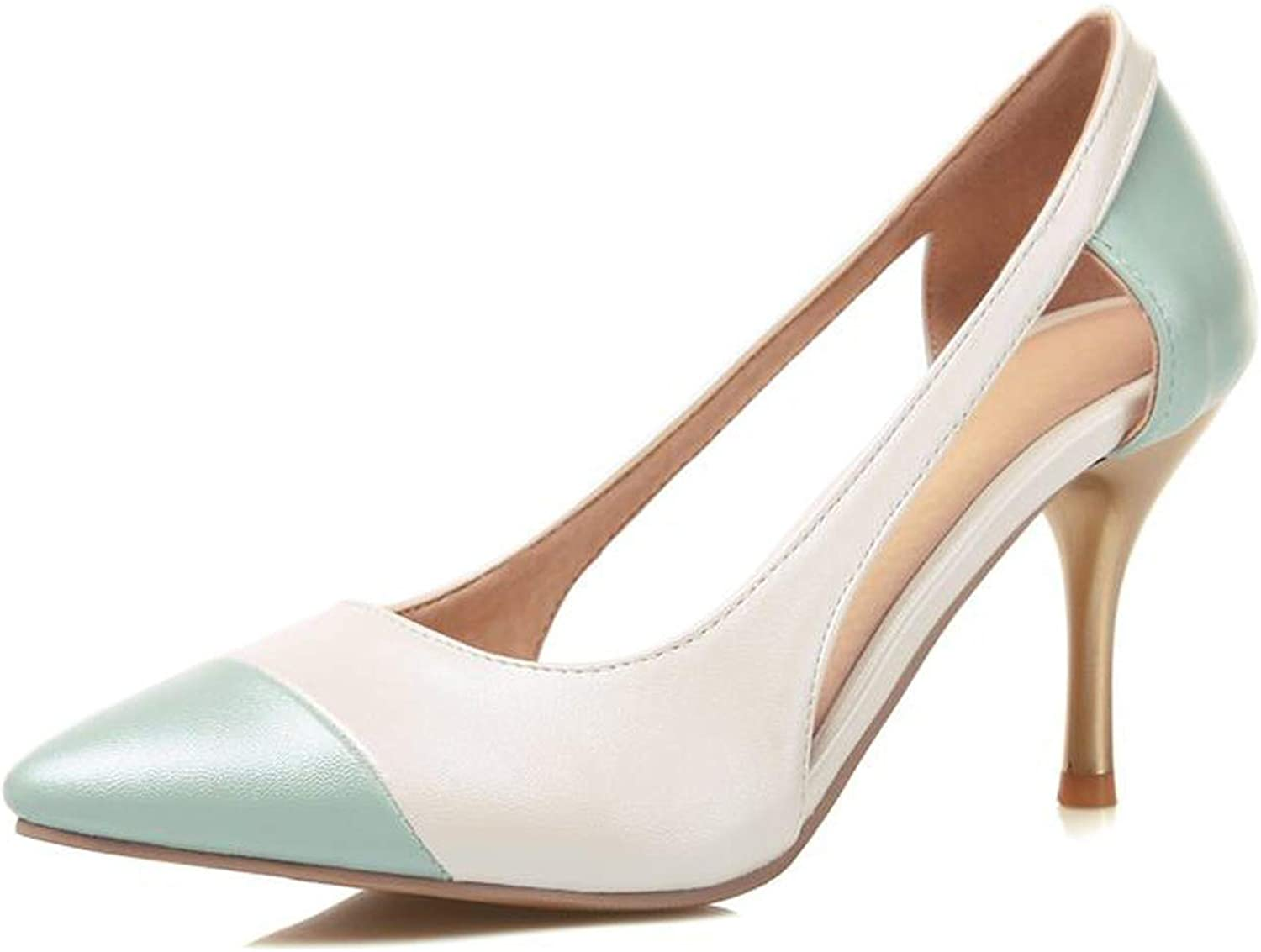 New Summer womenmps Pointed Toe Leather Stiletto high Heels Wedding shoes Woman,White,9