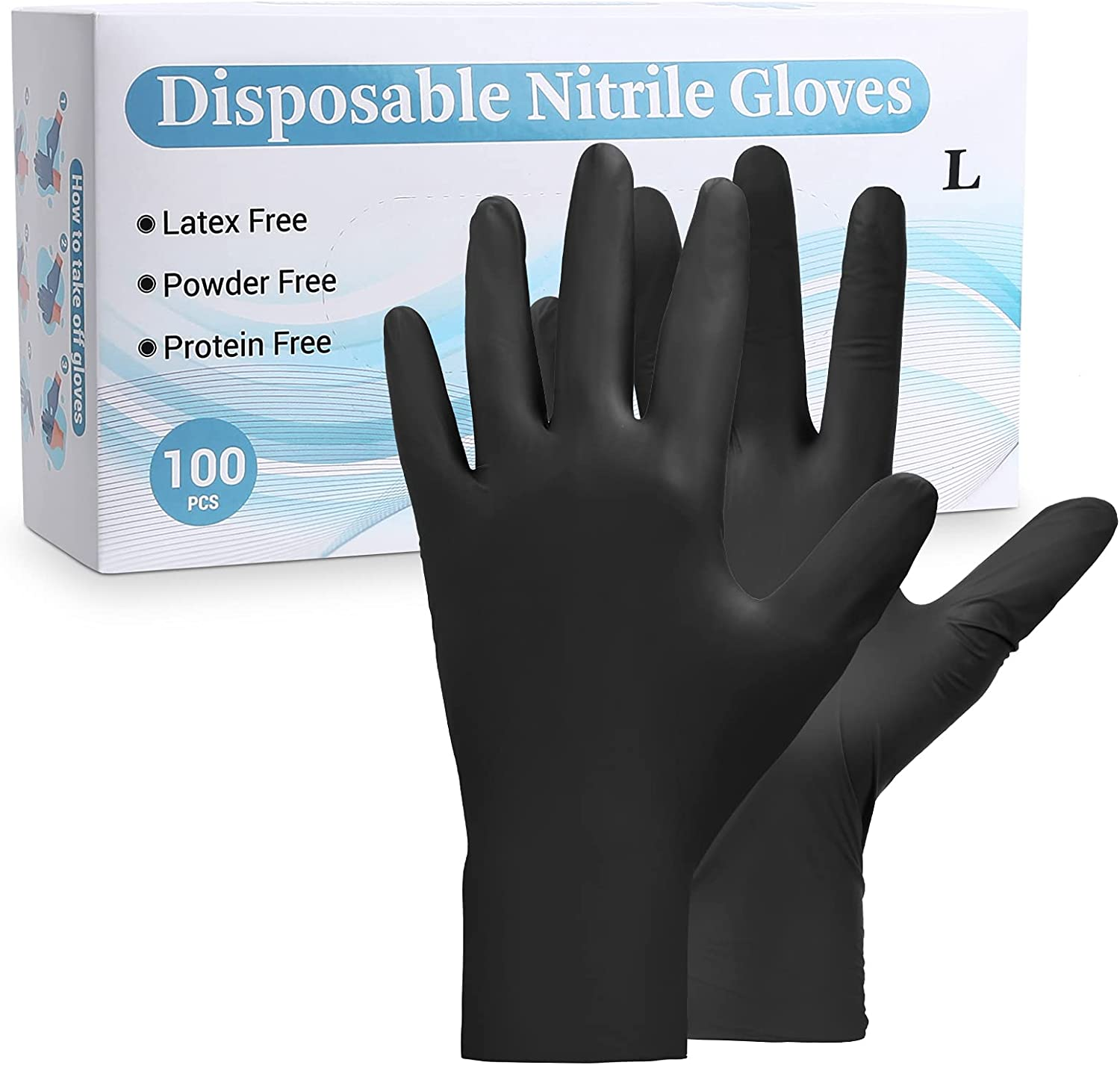 Black Disposable Nitrile Gloves, Food Gloves Industrial Powder Free Latex Free Box of 100