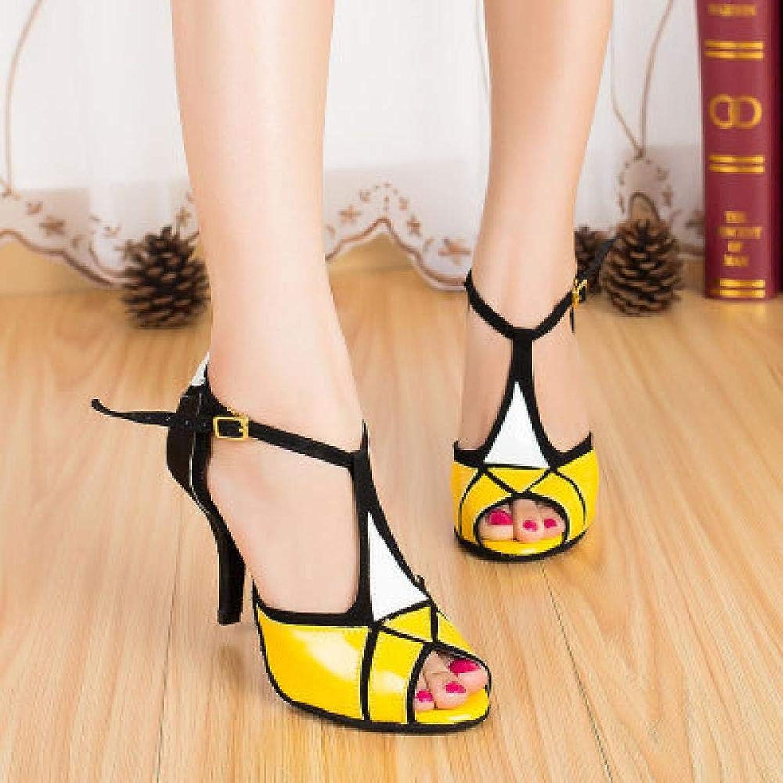 PU Frauen Ballsaal Latin Dance Schuhe Salsa Sandalen hochhackigen 8,5 cm Weibliche Samba Tango Tanzschuhe Social Party Schuhe 1842