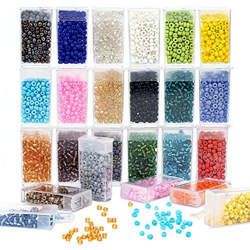 PandaHall 2400 cuentas de cristal de 4 mm, 24 colores surtidos con caja organizadora extraíble para hacer joyas, manualidades