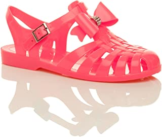 Ajvani Women's Diamante Bow 90's Gladiator Jelly Sandals Size