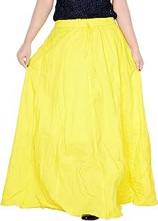 Sttoffa Women's White Skirt 38 inch Length Cotton Long Skirt