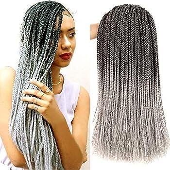 Senegalese Twist Hair Crochet Braids Hair Goddess Synthetic Braiding Hair High Temperature Fiber Crochet Braiding Hair Extensions 18 Inch Gray Color 30 Strands/Pack 2S For Women gray