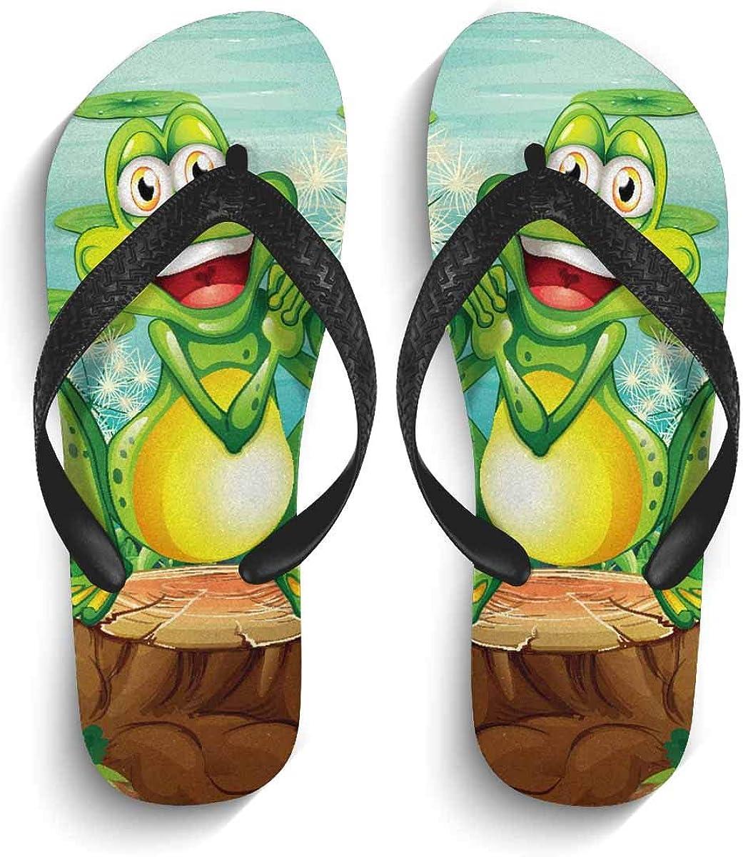 InterestPrint Men's Flip Flop Sandals Frog Above The Stump Near The Pond Summer Beach Thong Sandal Outdoor Footwear S