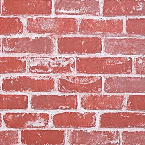 Timeet Textured 3D Red Brick Wallpaper Peel and Stick Wallpaper Self Adhesive Wallpaper Faux Brick Wallpaper Removable Wall Paper Home Room Decor Vinyl Look Real 17.7'×197'