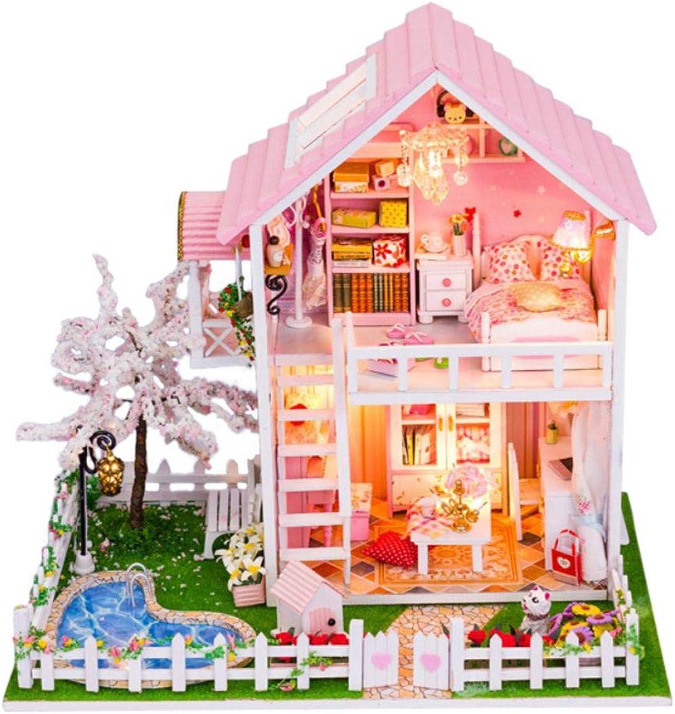 DIY Dollhouse Kit Cherry Tree Doll House Furniture DIY Miniature Dust Cover 3D Wood Dollhouse