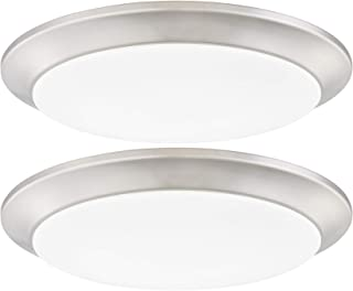 GRUENLICH LED Flush Mount Ceiling Lighting Fixture, 9 Inch Dimmable 15W (100W Replacement) 1000 Lumen, Metal Housing with Nickel Finish, ETL and Damp Location Rated, 2-Pack (3000K-Warm White)