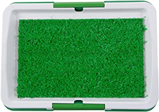 Goolsky Dog Litter Box Pad Potty Training Synthetic Grass Mesh Tray 3 Layer Pet Toilet for Dogs Indoor Outdoor Use