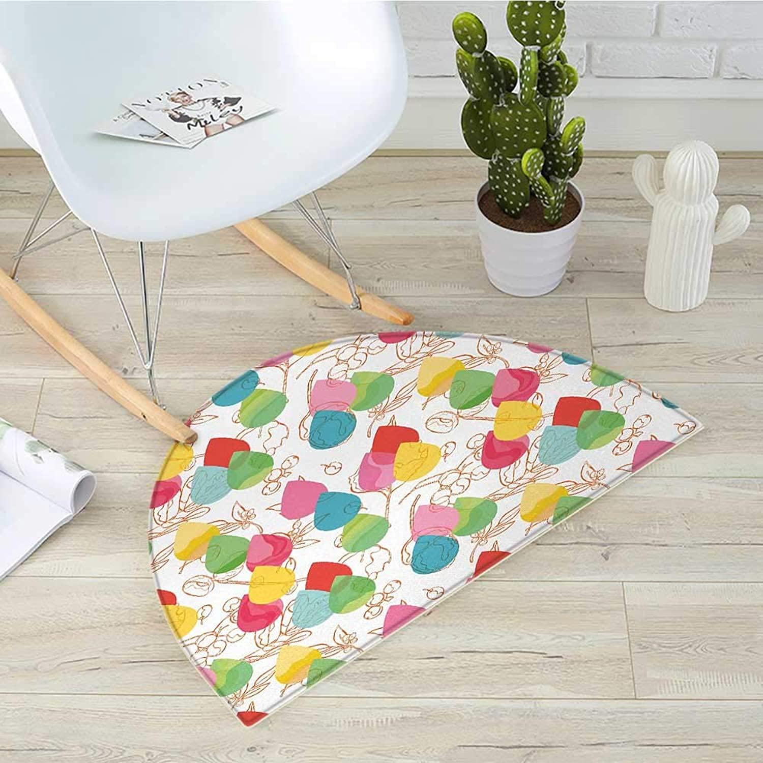 Abstract Semicircle Doormat color Droplets with Cherry Branches Leaves Curved Lines Autumn Background Design Halfmoon doormats H 31.5  xD 47.2  Multicolor