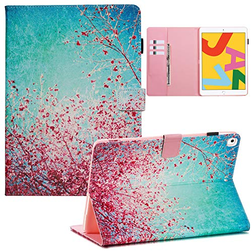 Uliking iPad 10.2 2019 Case 7th Generation, iPad Air 3 10.5' 2019 3rd Gen & iPad Pro 10.5 2017 Cover with Apple Pencil Holder PU Leather Smart Folio Stand Card Wallet [Auto Wake/Sleep], Cherry Tree