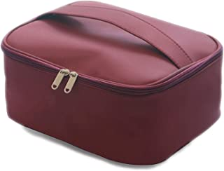 Women Makeup Bag Cosmetic Bag Beauty Case Make Up Organizer Toiletry Bag Polyester Storage Travel Wash Style,Wine Red