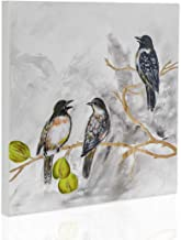 H HOMEPAINT Wall Decor with Songbirds on Branch Hand Painted and Hand Carved Wall Hangings 15.7X15.7X1.6 Inch 1PC GHGWA13140
