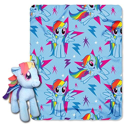 Hasbro My Little Pony Rainbow Dash Hugger und Fleece-Überwurfdecke, 101,6 x 127 cm, Mehrfarbig