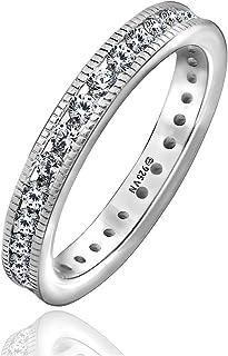 Amazon Collection 铂金镀银 纯银 2mm 透明圆形切割立方氧化锆 CHANNEL套装 永恒戒指,11号戒指 JER05184_120CL06QD00 日本尺寸11(美国尺码6)