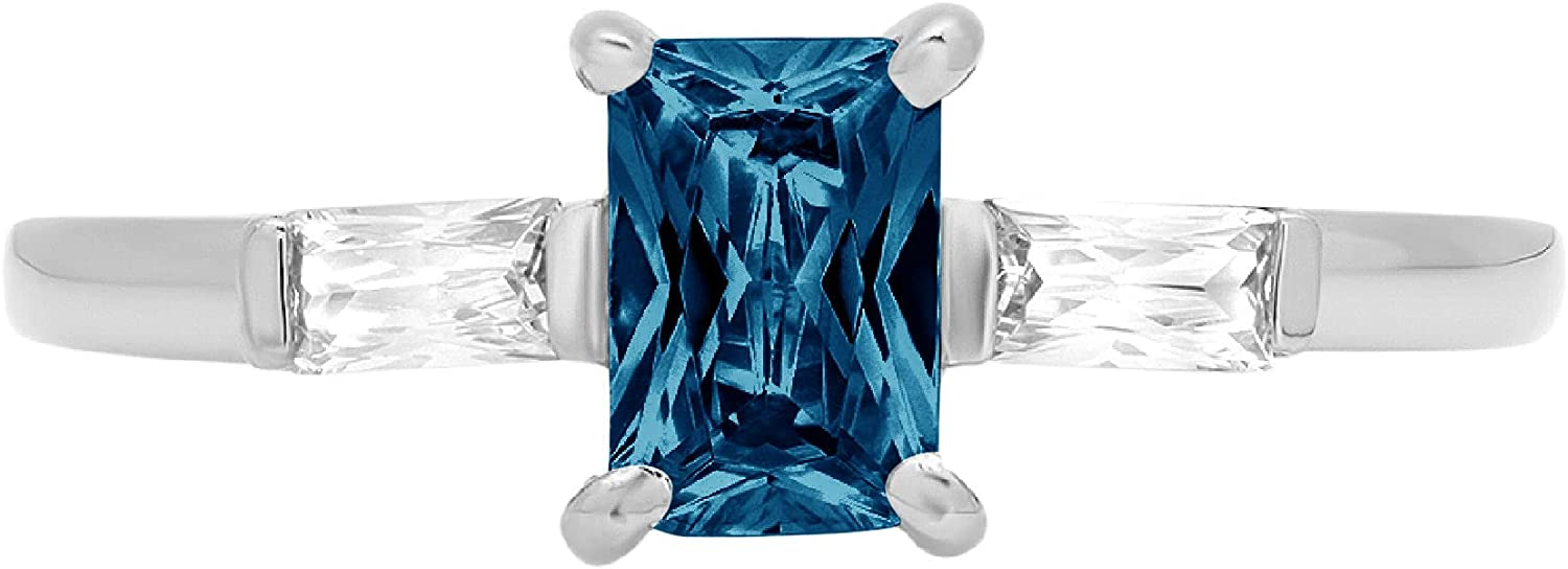 1.05ct Emerald Baguette cut 3 stone Solitaire with Accent Natural London Blue Gem Stone Ideal VVS1 Engagement Promise Statement Anniversary Bridal Wedding Ring 14k White Gold
