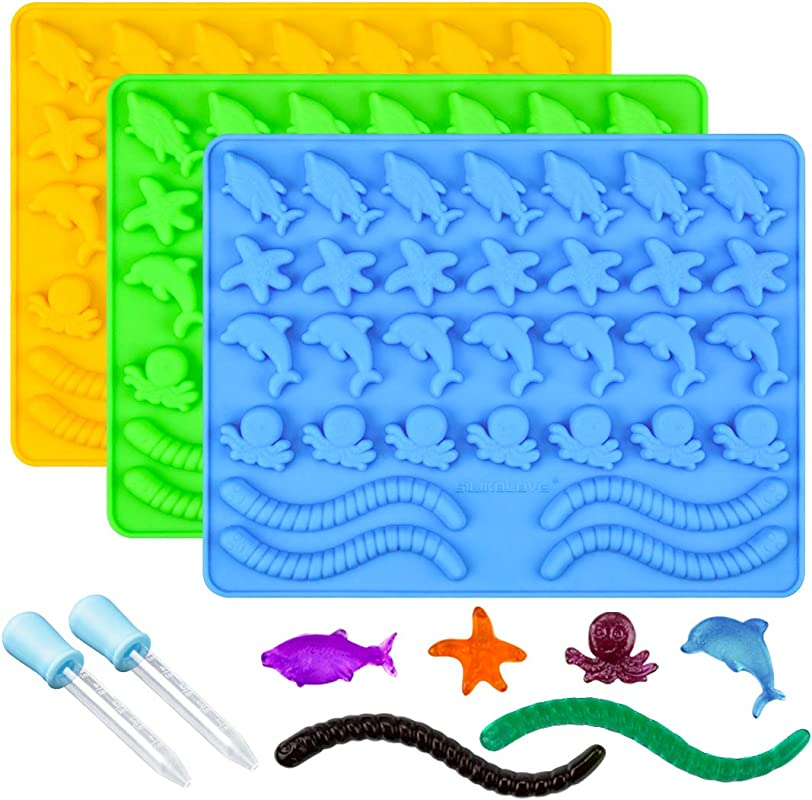 Gummy Molds Hard Candy Molds Candy Molds Silicone Including Worms Starfishs Dolphins Octopus Sharks Sea Mold BPA Free Pinch Test Approved Pack Of 3 Ocean Molds