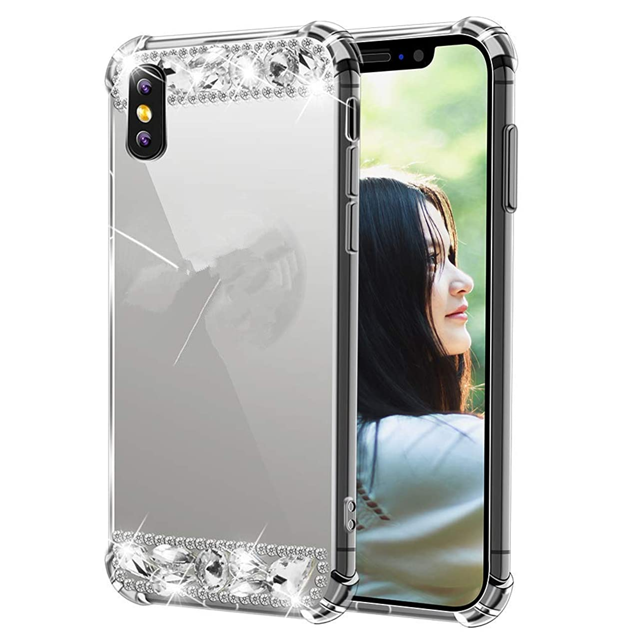 iPhone Xs Max Handmade Case-Aulzaju Luxury Bling TPU Mirror Cover for iPhone Xs Max Soft Slim Beauty Fashion Case with Ring Stand-Silver