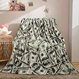 Dollar Throw Blanket Money Flannel Fleece Blanket Money Wealth Themed Flannel Blanket Soft Fuzzy Blanket for Bedroom Couch Sofa (Throw(50'x60'), Dollar)