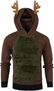 Hotkey Unisex Xmas Hoodies Sweatshirt, Men Christmas Reindeer 3D Hooded Tops Casual Pullover Sweater Costumes Party Tops