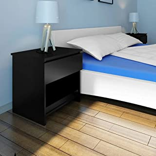 1-Drawer Bedside Table - Black