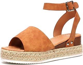 comprar comparacion Sandalias Mujer Plataformas Alpargatas Cuña Verano Hebilla Zapatos Playa Punta Abierta Tacon 5.5cm Correa de Tobillo Negro...
