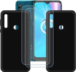 FZZ Case for Alcatel 1SE Light + 2 Pcs Tempered Glass Screen Protector Protective Film,2 Pack Slim Black Soft Gel TPU Sili...