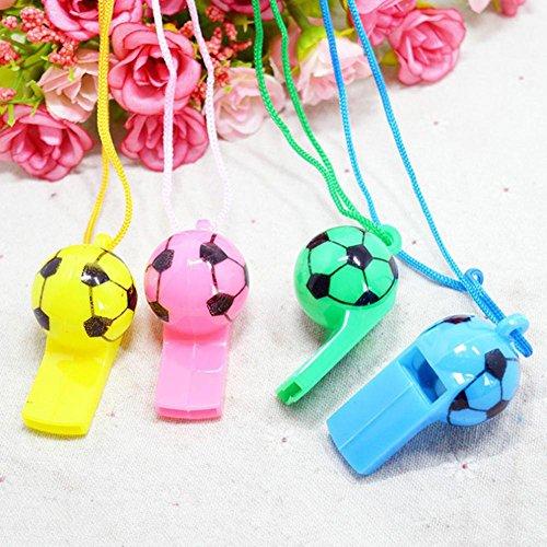 Pengyu Mini-Pfeifen für Kinder, für Fußball, Football, Cheerleading, aus Kunststoff, mit Umhängebändern für Party, Sport, zufällige Farbe, 10 Stück
