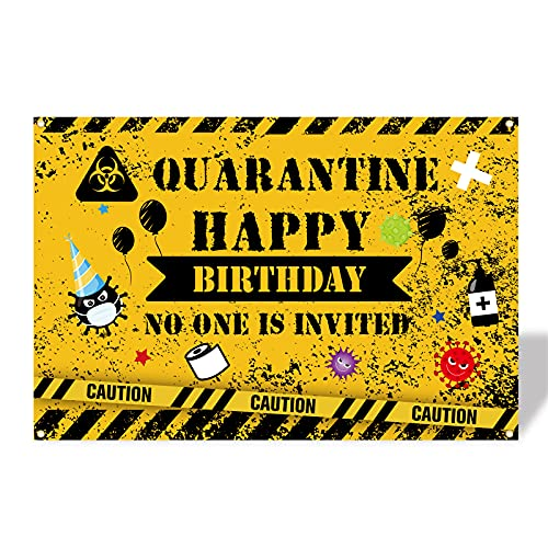 foxany Happy Quarantine Birthday Banner, Quarantine Birthday Social Distancing Backdrop, Birthday Party Decorations Supplies for Quarantine Time (70.8×47 inch)