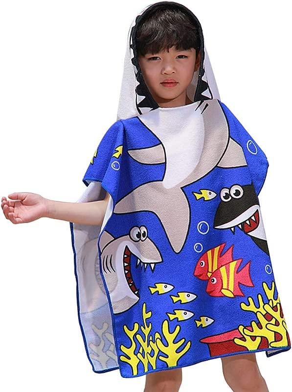 Toddler Hooded Beach Bath Towel Shark Swim Pool Beach Bath Coverup Poncho Cape Towel For Boys Kids Children 2 8 Years Old Bath Robe 31 To 48 Inch Tall Shark Blue