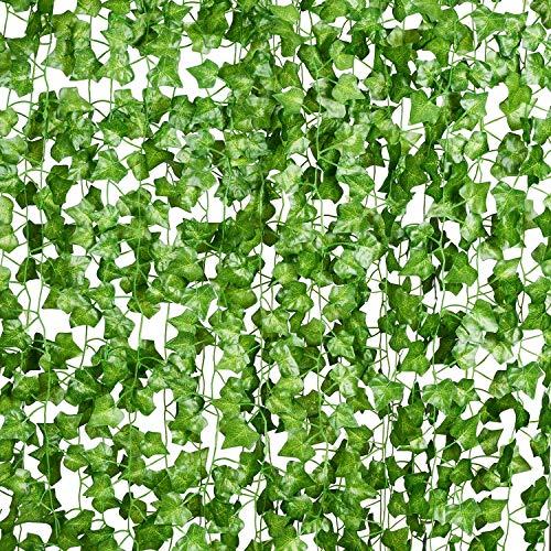 YQing 56 Ft-8 Pack Artificial Ivy Leaf Garland Plants Vine Hanging Wedding Garland English Ivy Home Kitchen Garden Office Wedding Wall Decor