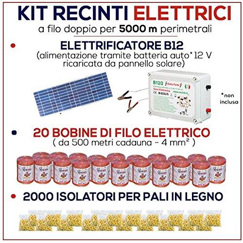Kit für Weidezaun 5000 Meter - Solaranlage für Weidezaungerät + Weidezaun Litze + Isolatoren für Holzpfähle / eisenpfähle GEMI