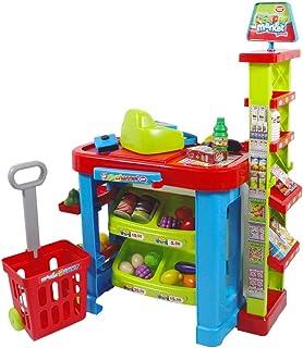 deAO Stormarknadsställ med kundvagnar och livsmedel för barn