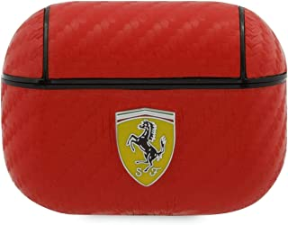 CG MOBILE Ferrari AirPods Case for AirPods Pro Case PU Leather Carbon Effect Red FESA2CARE